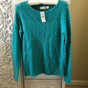 Loft Cable Knit Sweater Green